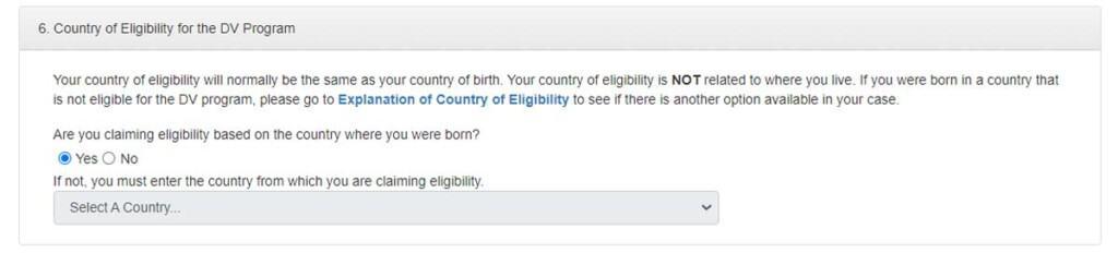 formulario loteria de visas pais elegible