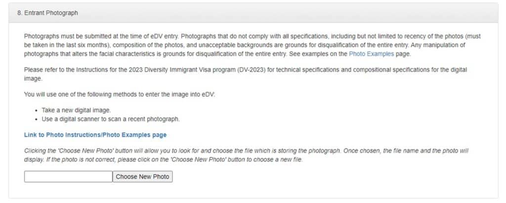 fotografia para participar en la loteria de visas 2023