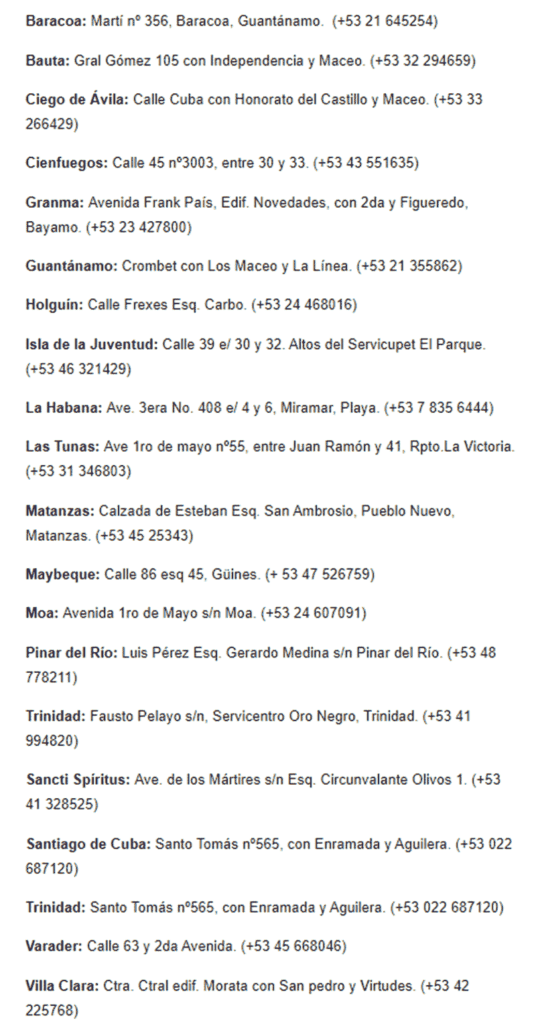 lista de oficinas fincimex para tarjeta AIS