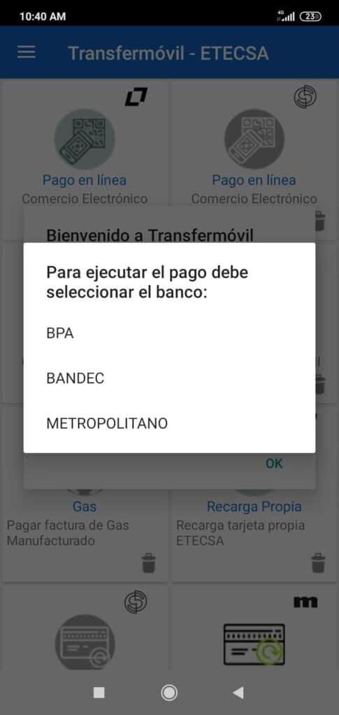 pago seleccionar banco