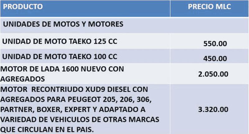 precios unidades de motos y motores en mlc