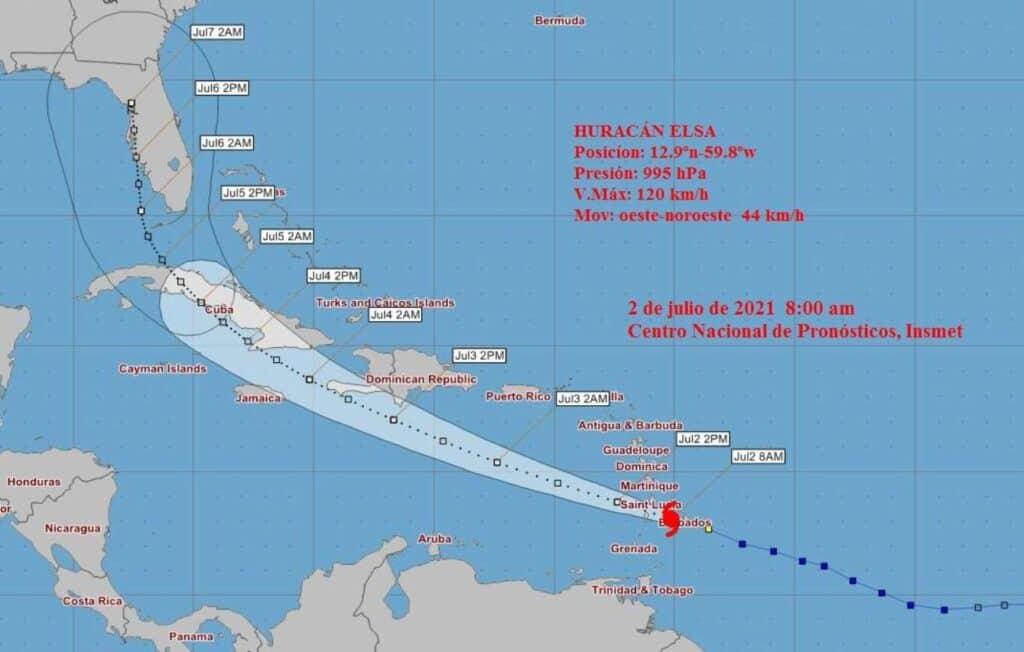 pronostico de trayectoria del huracan elsa