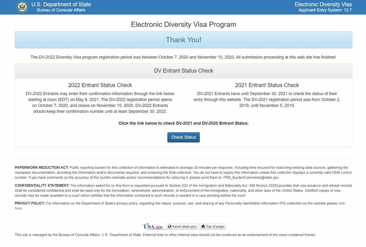 review visa lottery results