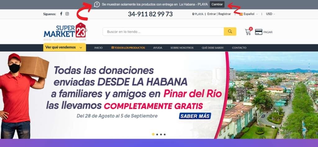 supermarket23 provincia y municipio sleccionada