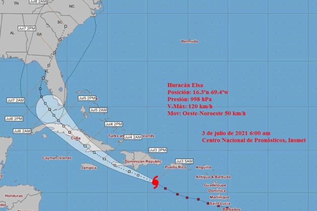trayectoria huracan elsa sabado 3 de julio 6am