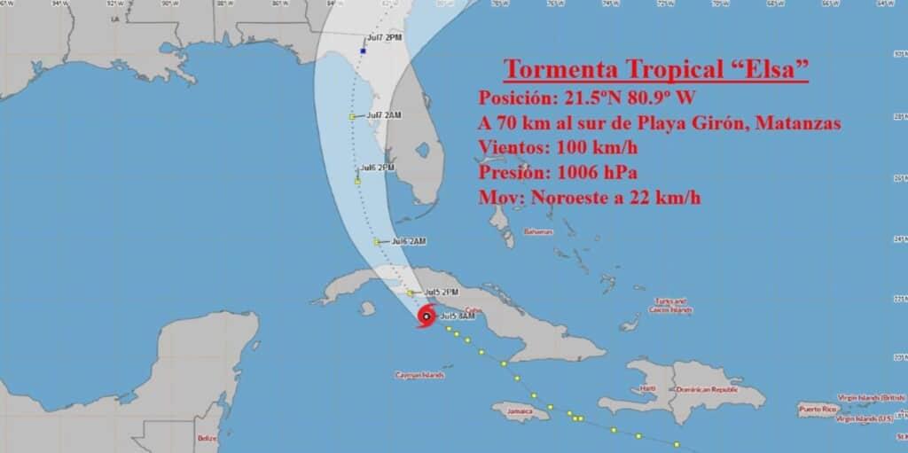 trayectoria tormenta tropical elsa